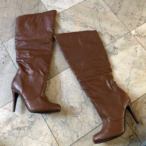 Cognac Brown Heel Boots